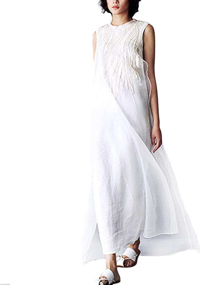 YIFF Falda de Tul de Seda y Lino para Mujer, Bordada, Larga, Color ...