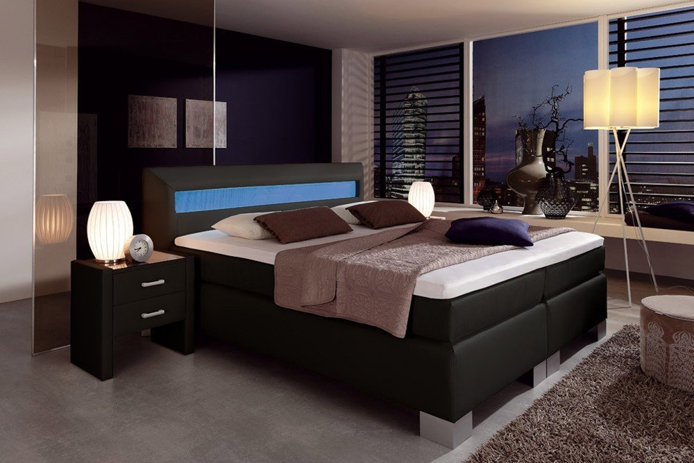 dreams4home boxspringbett flashlight kt1 schwarz 100 140. Black Bedroom Furniture Sets. Home Design Ideas