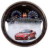 Alpena 10221 Durbin Brown Leather Steering Wheel Cover