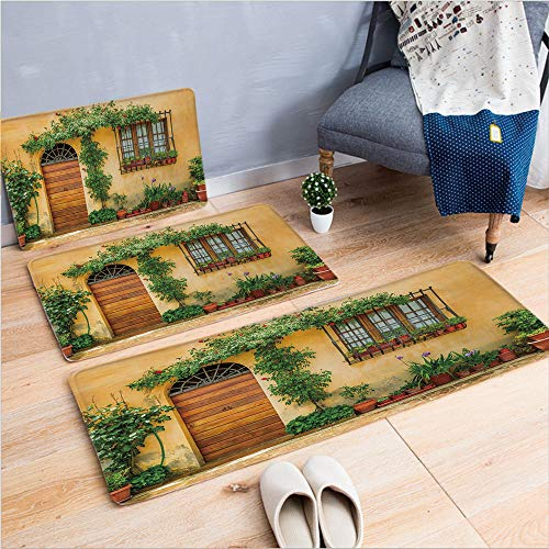 3 Piece Non-Slip Doormat 3d print for Door mat living room kitchen absorbent kitchen mat,Flowers Pots Fresh Green Plants City Life in Tuscany,15.7