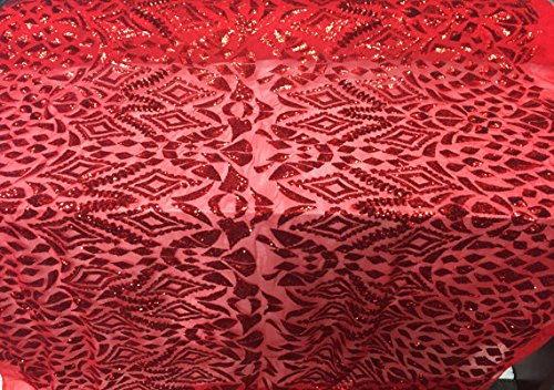 Metatron wedding lace Nebula geometric design sequin mesh fabric lace red. Sold by the yard