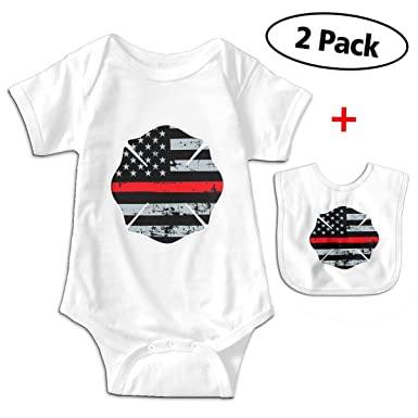 bb5fadc0edc5 Thin Red Line Distressed Flag Maltese Newborn Infant Baby Boys Girls Romper  Bodysuit Short Sleeve Outfit