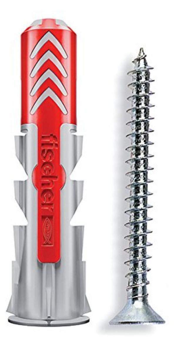 Fischer 25 Tasselli Duopower con Vite, 10 x 50 mm, per Muro pieno, Mattone Forato, Cartongesso, 537648