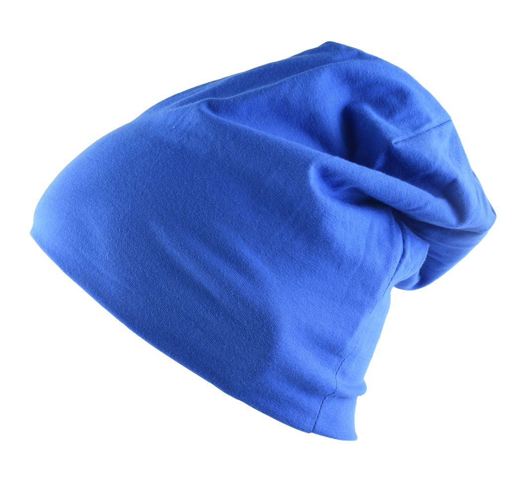SUNNYTREE Cotton Night Sleeping Cap for Long Hair Smooth Soft Bonnet Hat Blue Hair Care Caps