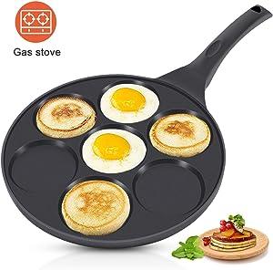 KUTIME Pancake Pan 7-Cup Mold Blini Pan Silver Dollar Pancake Pan Non-stick Breakfast Griddle Mini Pancake Maker Fried Egg Cooker Black