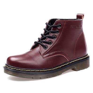 162820b0f34af SITAILE Damen Herren Stiefeletten Leder Boots Kurzschaft Winterstiefel  Winter Schuh Warme Gefütterte Outdoor Knöchel Stiefel,
