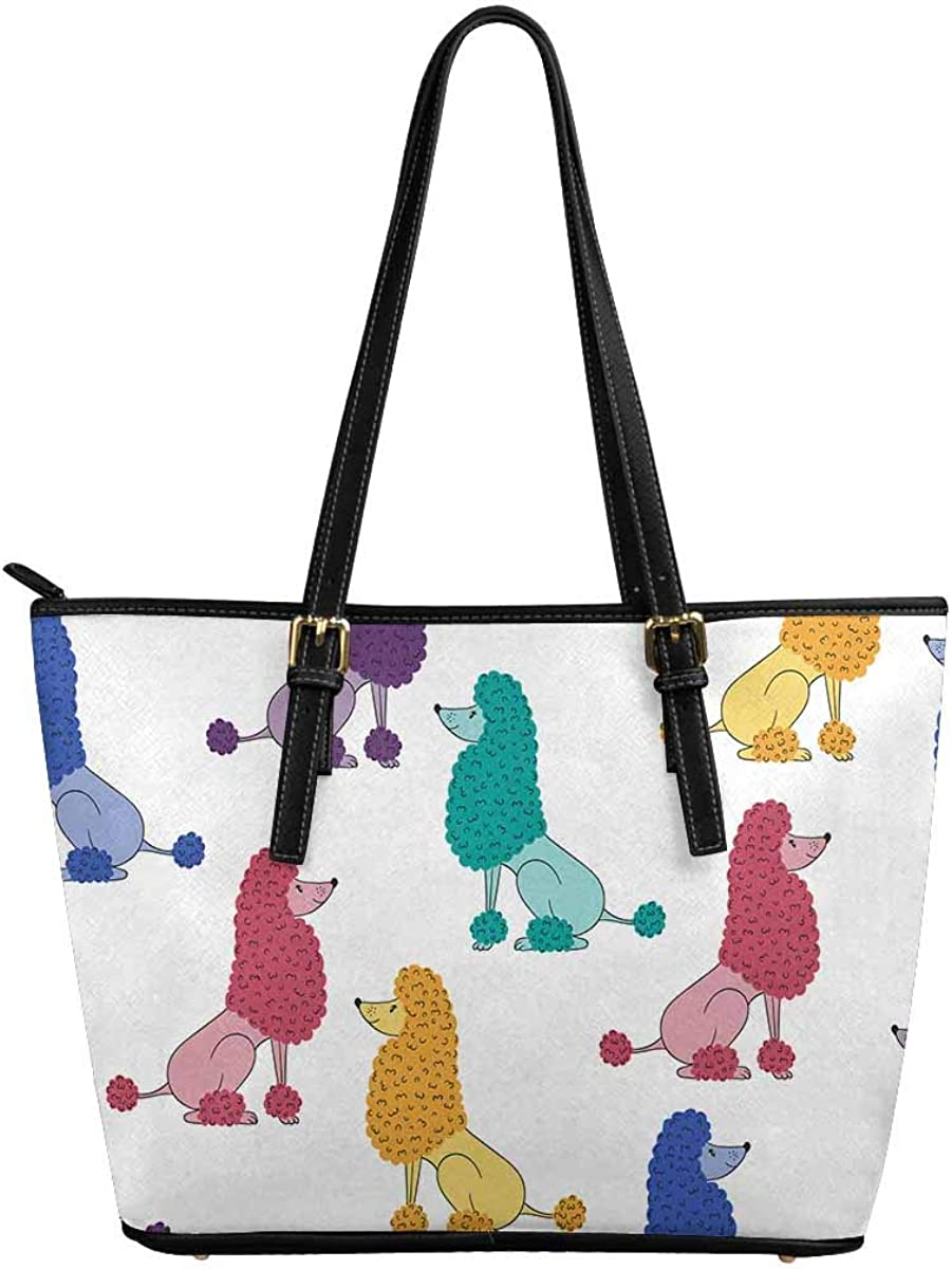 InterestPrint Cute Colorful Poodle Dog Custom PU Leather Totes Top Handle Casual Shoulder Bags