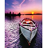 5D Diamond Painting Kit Full Drill DIY Rhinestone Embroidery Cross Stitch Arts Craft for Home Wall Decor Fishing Boats in Sunset 12x16 inch
