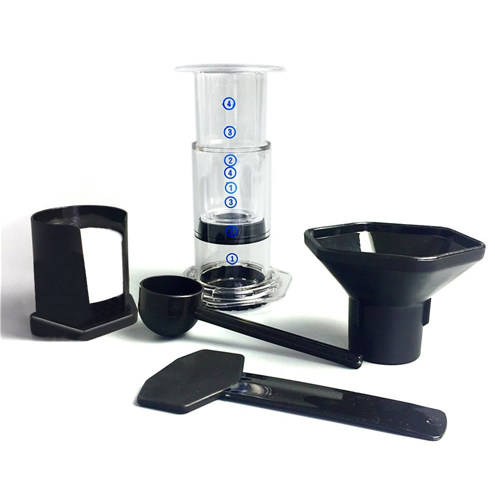 French Coffee Press with Coffee Filter Tools Set, Portable Coffee Maker Press Pot 300-400ml (Transparent)
