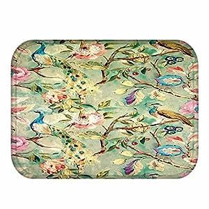 """Plantas verdes patrón alfombra forro polar Coral Decoración del hogar alfombra interior Felpudo cocina alfombra 16""""x 24"""" (09)"""