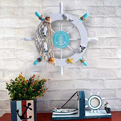 Mintbon Nautical Beach Wooden Boat Ship Steering Wheel Fishing Net Shell Home Wall Decor White - Fish,Nautical Decor Ship Wheel,Swim Ring Decor