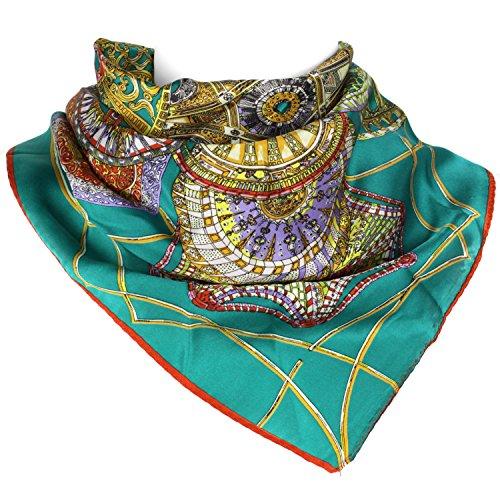 Mandala-Carnival-Elegant-Luxurious-100-Silk-Scarf-Turquoise-22-x-22-Inch