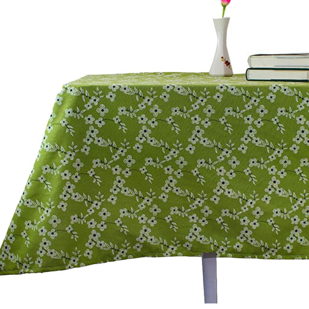 WENYAO プラムコットンリネンテーブルクロス 立体プリント長方形テーブルクロス 多機能テーブルクロス ホームキッチンパーティーに最適 140x200cm グリーン 902-441 140x200cm グリーン B07K5T7V19