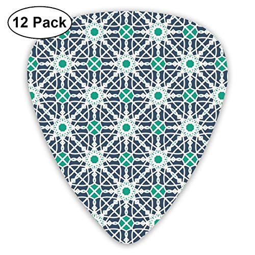 Celluloid Guitar Picks - 12 Pack,Abstract Art Colorful Designs,Arabesque Floral Design With Geometrical Elements Abstract Style,For Bass Electric & Acoustic Guitars.