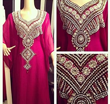 f1dc2199bce8d Raspberry pink Dubai diamond farasha dress abaya kaftan  Amazon.co ...