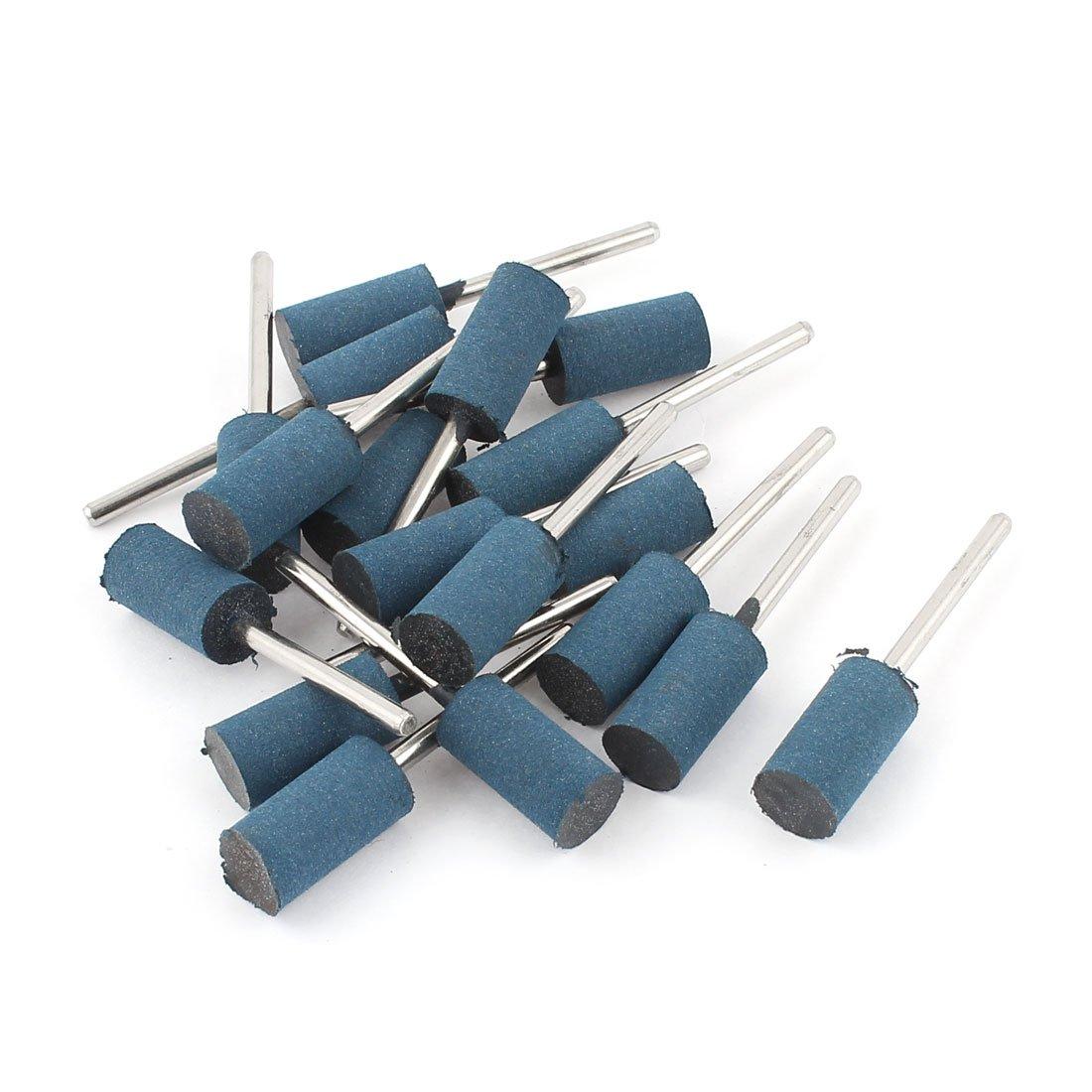 10 mm Schaft 3 mm Zylinder Kopf Schleifstift 18Pcs Kautschuk poliert Blau de