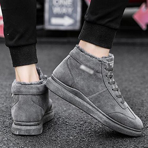Men's Shoes Feifei High-Quality Materials Winter High Help Non-Slip Leisure Keep Warm Snow Boots 3 Colors (Color : Gray, Size : EU/41/UK7.5-8/CN42)