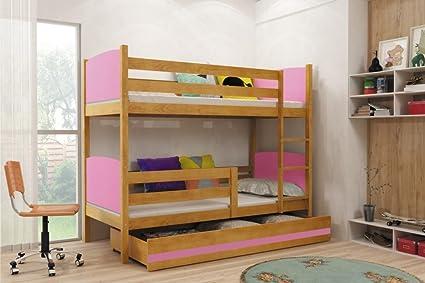 Interbeds Cama litera TAMI para niños, cama infantil de madera maciza + colchones y almacenamiento