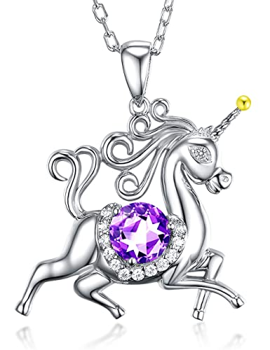 Unicorn Natural Amethyst Necklace Jewelry Birthday Gifts for Girls Women Gemstone Sterling Silver Animal Jewelry 20 Chain