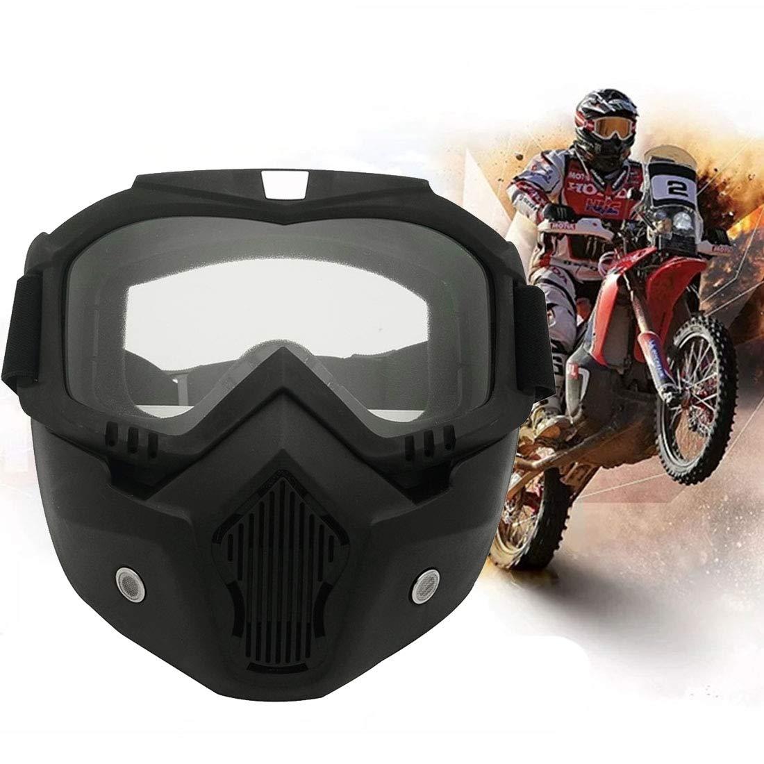 VAXT Masque de moto tout-terrain d/étachable coupe-vent
