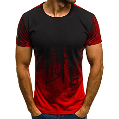 e5295ba7c Amazon.com: Teresamoon Big Men Tee Slim Fit Shirts Muscle Casual Tops Blouse:  Clothing