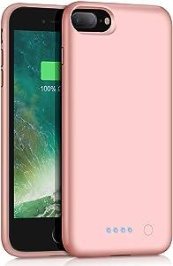Battery case for iPhone 8 Plus/7 Plus/6 Plus/6s Plus,8500mAh Charging Case Portable Charger Case Rechargeable Extended Battery Pack for 6s Plus/ 6 Plus/ 7 Plus/ 8 Plus(5.5') Backup (Rose Gold)