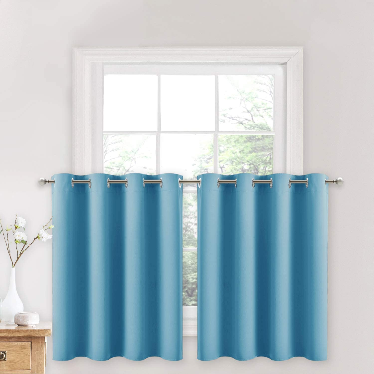 NICETOWN Blackout Window Curtains for Nursery - Eyelet Top Window Treatment Blackout Curtain Panels (Teal Blue=Light Blue, 2 PCs, W52 x L36 + 1.2 inches Header)