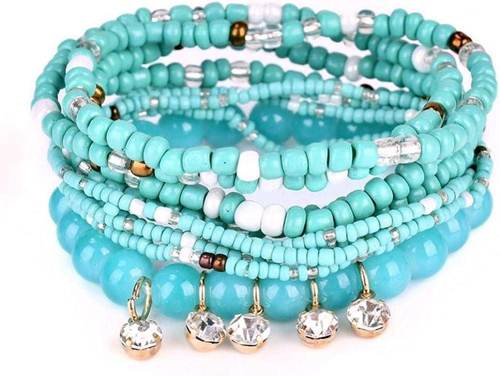 Pulsera Multicapa para Mujer, Pulsera de Piedras Preciosas, Pulsera de Perlas Retro, decoración de circonita.