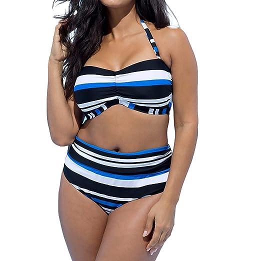 cc20342eee Amazon.com: OrchidAmor Women's Plus Size Two-Piece Suits Soft Swimming  Swimwear Jammers Striped Split Swimsuit Beachwear Bikini: Clothing