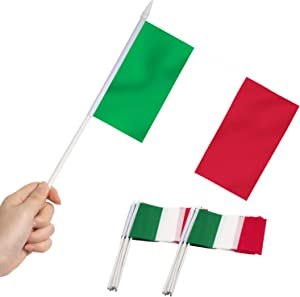 Anley Italy Mini Flag 12 Pack - Hand Held Small Miniature Italian Flags on Stick - Fade Resistant & Vivid Colors - 5x8 Inch with Solid Pole & Spear Top
