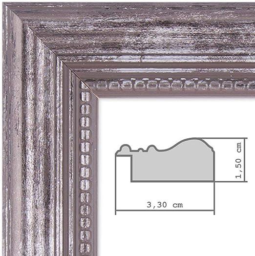PHOTOLINI Bilderrahmen 10x10 cm Silber Barock Antik Massivholz mit Glasscheibe und Zubeh/ör//Fotorahmen//Barock-Rahmen