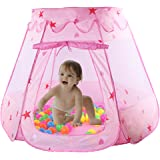 WorldProof Princess Castle Children's Play Tents Foldable Pop Up Play House with Glow in Dark Stars Toy Indoor or Outdoor Use a Carrying Case (Pink)