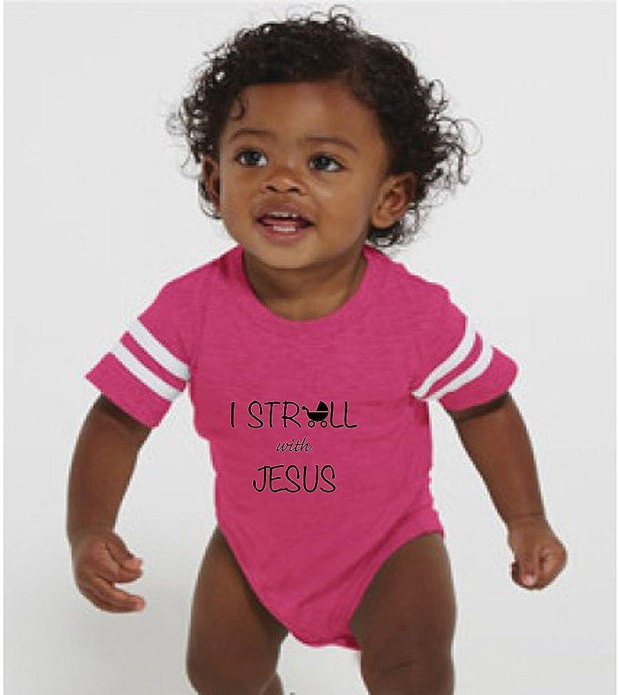 Amazon.com: I Stroll With Jesus Baby Kid Football Fine Jersey ...