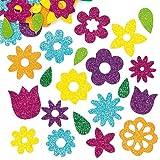 Lot de 120 Autocollants en Mousse Fleurs à Paillettes - Idéal pour la création de cartes