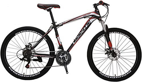 LOOCHO Mountain Bike 21 Speed 26 inch Shining SYS Double Disc Brake Suspension Fork Rear Suspension Anti-Slip Bikes
