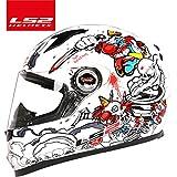LS2 FF358 full face motorCycles helmet ls2 motocross racing man woman casco moto casque LS2 ECE proved no pump FF358 - White & Red & Yellow & Blue - L