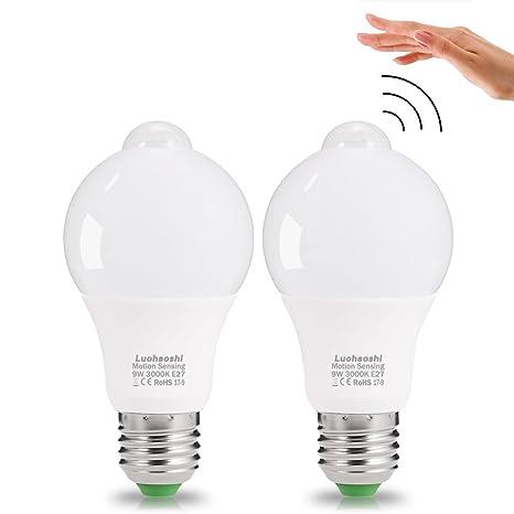 Sensor de movimiento luz bombilla, (2 Pack) luohaoshi E27 9 W LED,