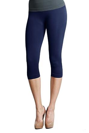 f3311635c79ba9 Nikibiki Capri Leggings Navy O/S NS5081 at Amazon Women's Clothing .