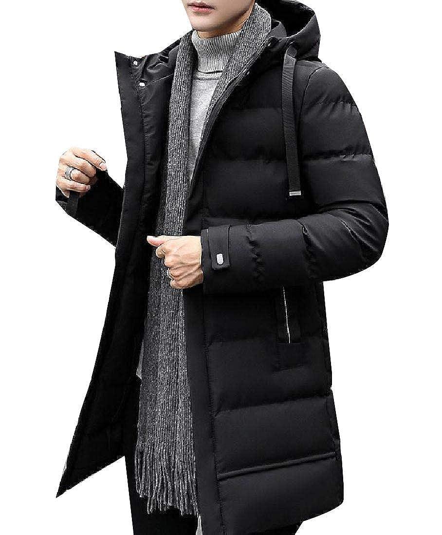 AngelSpace Mens Warm Brumal Casual Thicken Slim Fit Mid-Long Coat Jacket