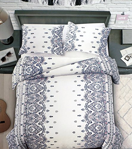 Duvet Cover Set, Full / Queen Size Bed Luxury 3 Piece 100% Cotton, Watercolor Damask Medallion Border Pattern in Shades of Blue Pink Gray on White, Tarasha, Artisan NY (Border Ny White)