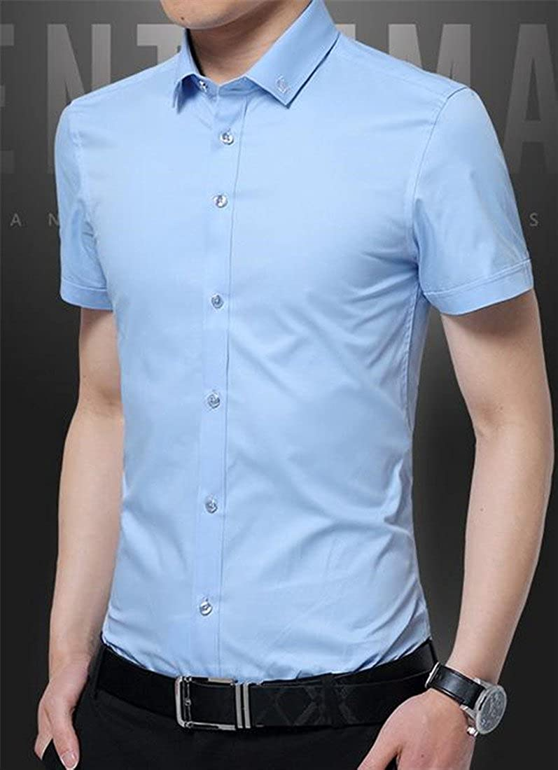 Bigbarry Mens Summer Thin Short Sleeve Button Front Embroidery Solid Color Shirts