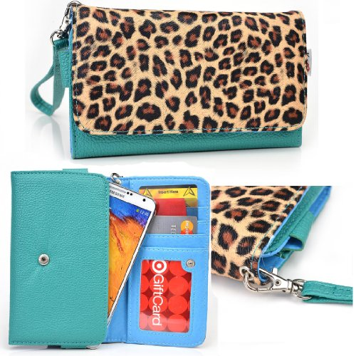 Kroo HTC One M9, M9+, A9, M8s, HTC Desire 520 610 612 616 620 626G+ 626s Emerald Leopard Wallet Case with Strap and Coin Pocket - Cover Para Htc Desire 610