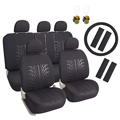 Leader Accessories 17pcs Black Auto Car Seat Cover Full Set