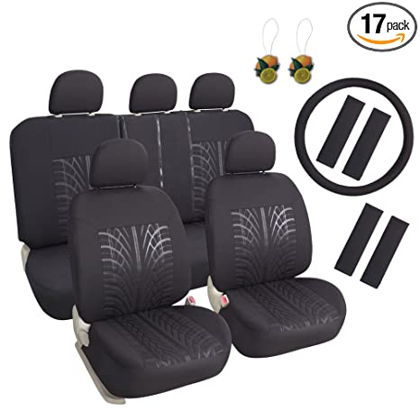 Phenomenal Leader Accessories 17Pcs Black Auto Car Seat Cover Full Set Airbag Compatible Front Low Back Buckets Seat Protector 50 50 Or 60 40 Rear Split Andrewgaddart Wooden Chair Designs For Living Room Andrewgaddartcom