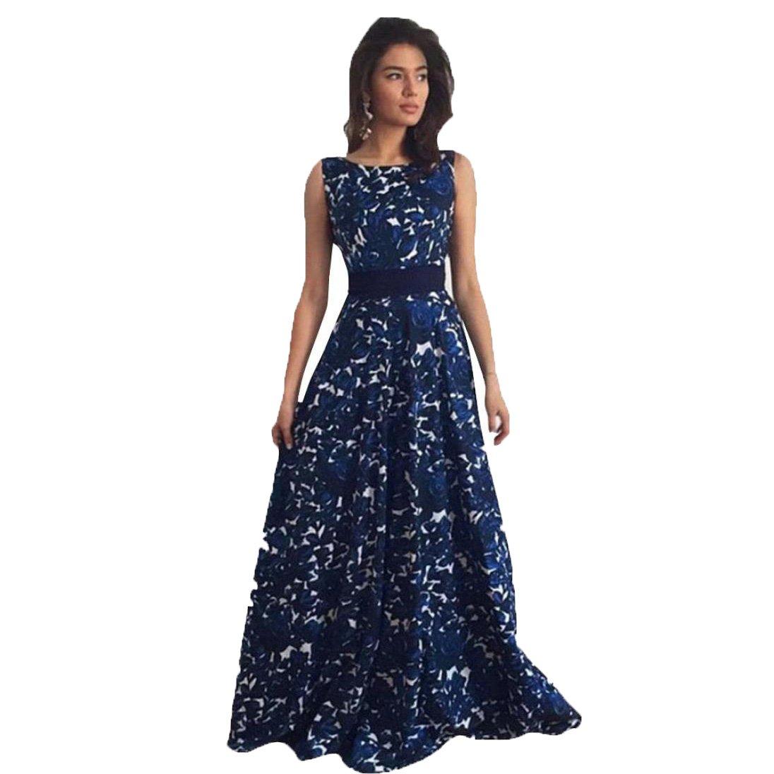 Internet Women Floral Formal Prom Dress Party Ball Gown Long Evening Dress (L, Blue): Amazon.co.uk: Beauty