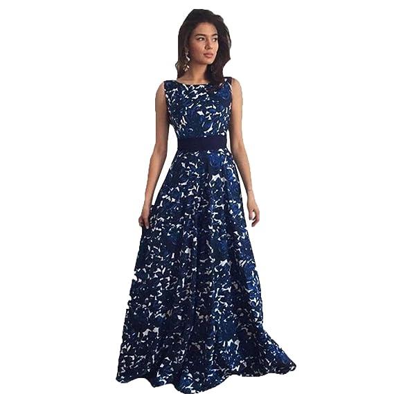 645a9de9f8 Internet mujeres floral Formal Prom Vestido de fiesta vestidos de novia de largo  vestido de noche negro azul L  Amazon.es  Belleza