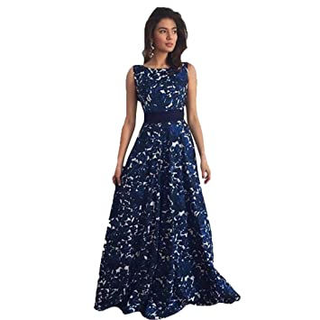 Internet Women Floral Formal Prom Dress Party Ball Gown Long Evening Dress (L, Blue