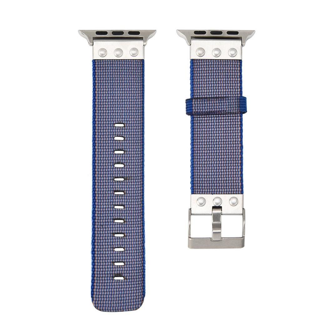Apple Watchバンド42 mm、sukeq丈夫編みキャンバス時計バンドループスポーツ交換用ストラップwith Metal Clasp for Apple Watchシリーズ3 / 2 / 1 42 mm  パープル B078WQFK8C