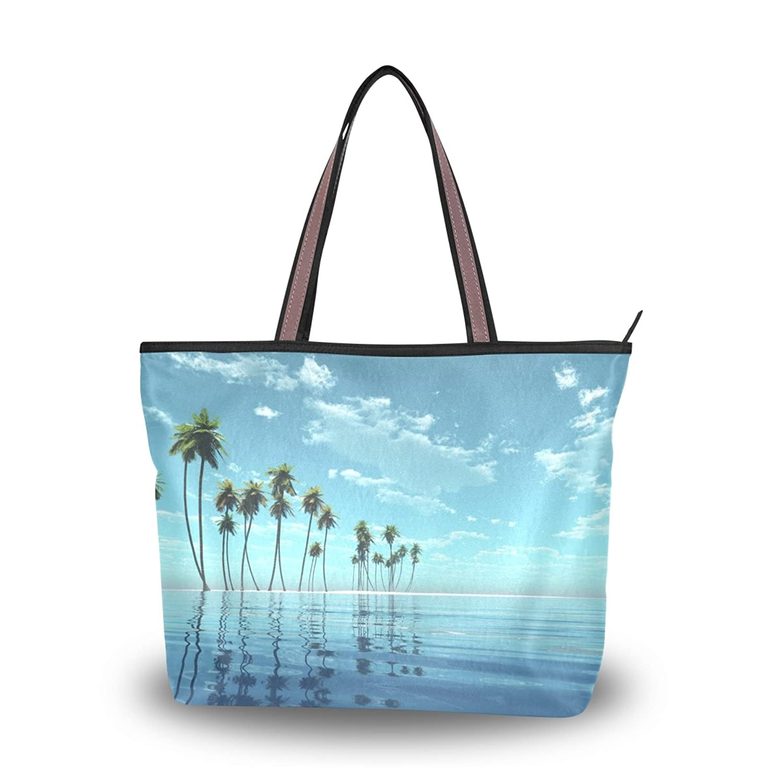 Senya Women's Handbag Microfiber Large Tote Shoulder Bag, Tropical Beach