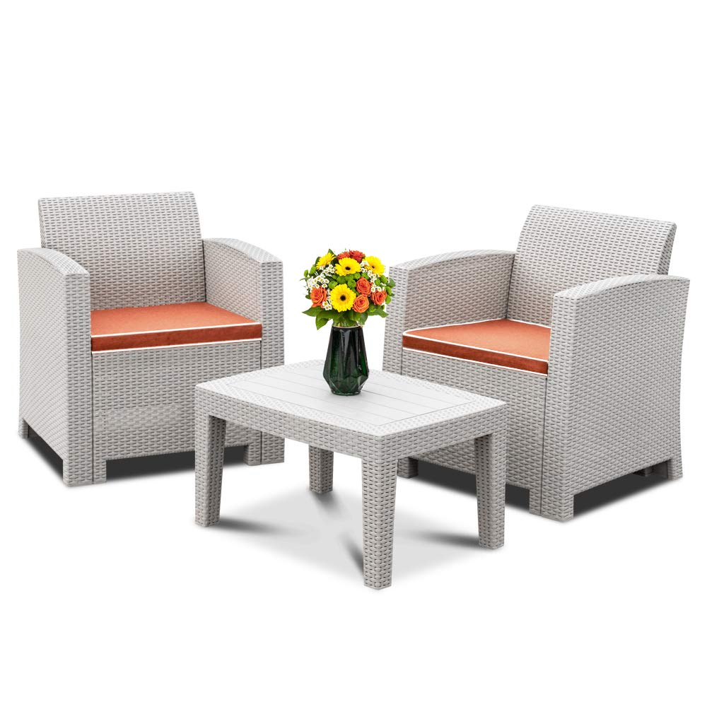 Bonnlo 3pcs Patio Bistro Set PP Rattan Table Chair Set, Conversation Furniture Set w/Side Table, 2 Armchairs -Grey, Simple Assembly Tools Free